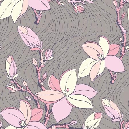 Beautiful seamless vintage wallpaper with magnolia flower 向量圖像