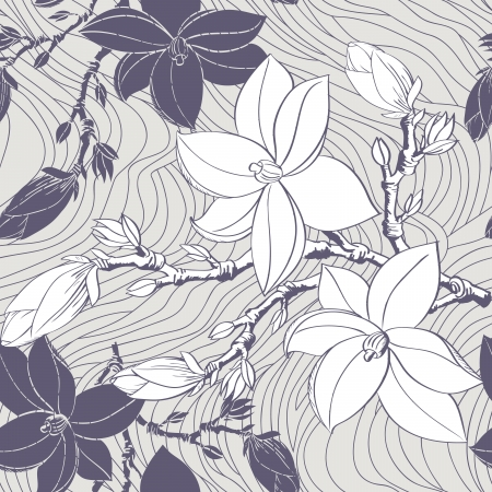 Beautiful seamless vintage wallpaper with magnolia flower Иллюстрация