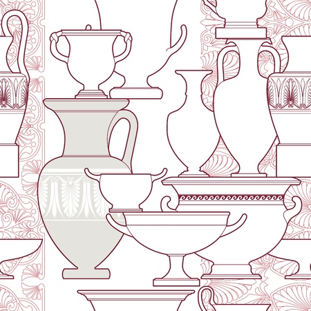 decorative urn: Ceramic seamless pattern. Ethnic national Greek style background Illustration