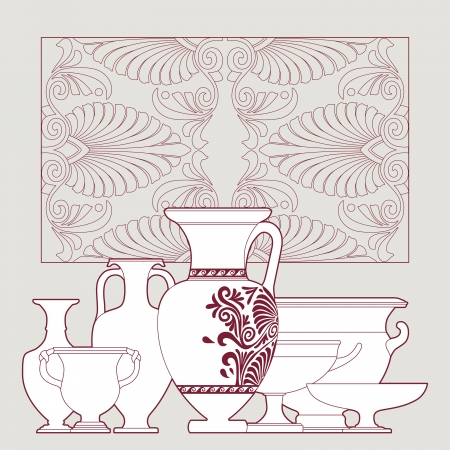 earthenware: Ceramic seamless pattern. Ethnic national Greek style background Illustration