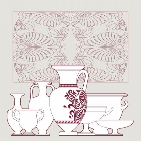 decorative urn: Ceramic seamless pattern. Ethnic national Greek style background Illustration