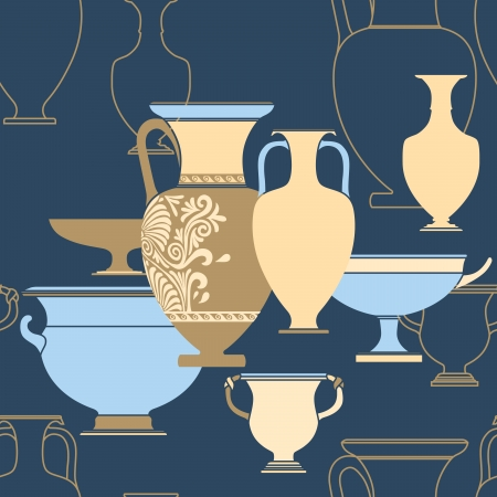 Ceramic seamless pattern. Ethnic national Greek style background Illustration