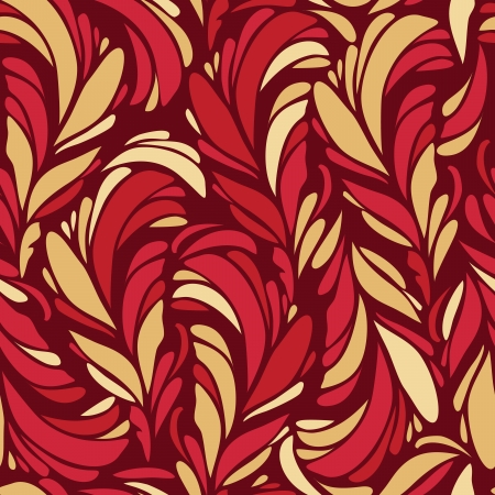 Seamless pattern with red and gold feathers Vector