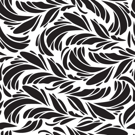 peacock eye: Seamless doodle  black peacock feathers pattern