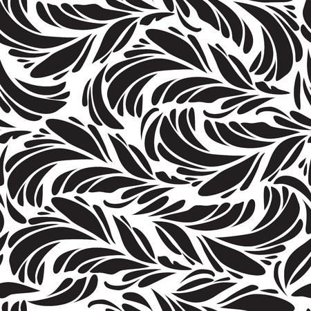 indian light: Seamless doodle de plumas de pavo real negro patr�n