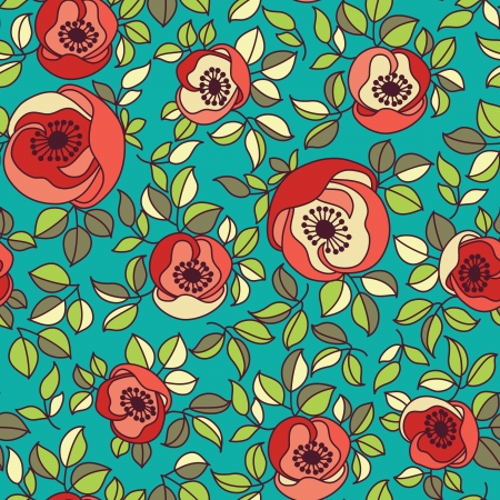 seamless vintage rose pattern on green background Stock Vector - 17185044
