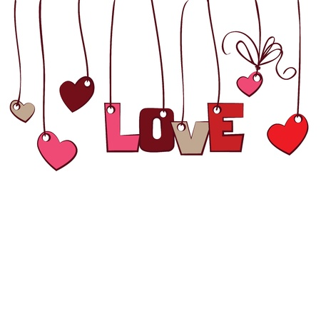 hearts and word   love   on white background Stock Vector - 17231067