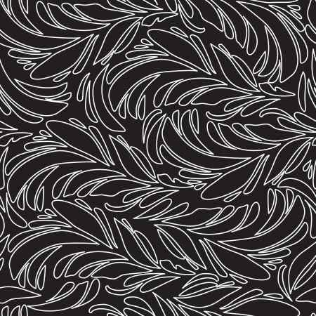 plumage: Seamless doodle  black peacock feathers pattern