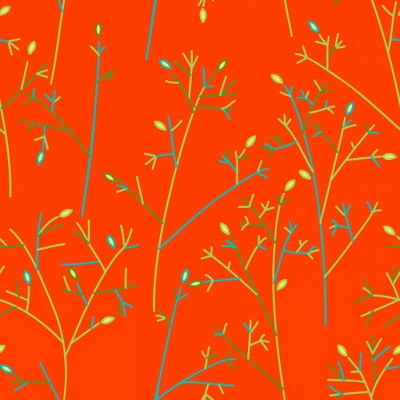 Seamless pattern with trees and branches Vector