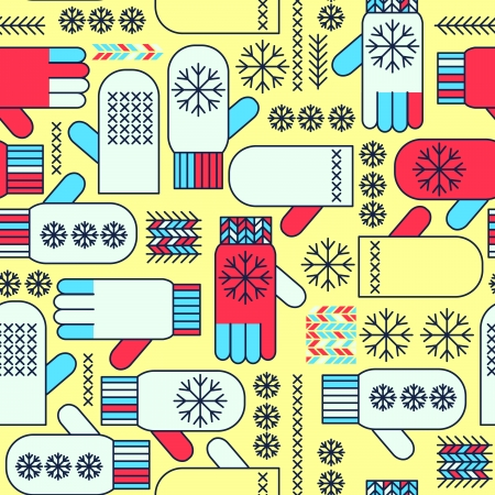 Winter mittens snowflake seamless pattern Stock Vector - 17652432