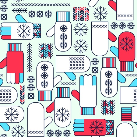 Winter mittens snowflake seamless pattern Stock Vector - 17652430