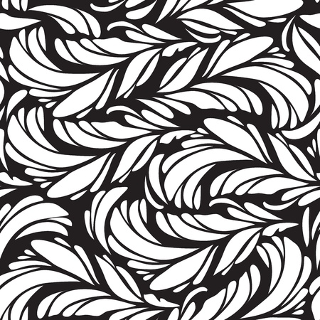 Seamless doodle  black peacock feathers pattern. Vector