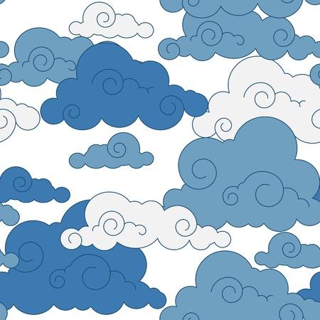vintage cloud Chinese  seamless pattern Illustration