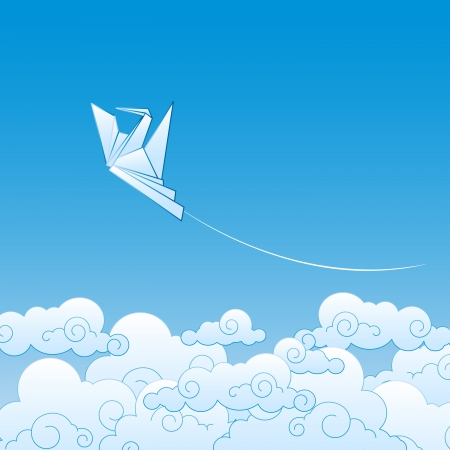 Paper origami crane against the blue sky Vector