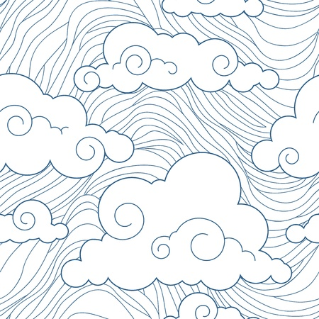 japanese culture: Seamless stylized clouds pattern