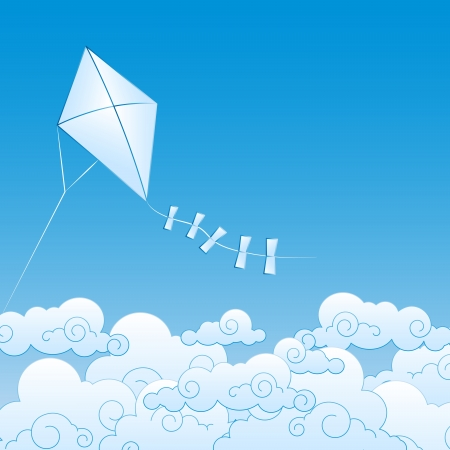 clean air: paper kite up in the clouds Illustration