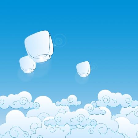 sky lantern: lanternes en papier dans le ciel