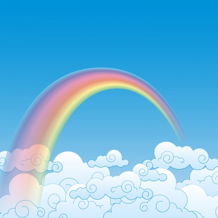 Colorful Rainbow With Cloud, Vector Illustration Stock Vector - 17652428