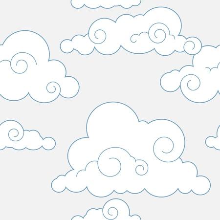 fine lines: Seamless stylized clouds pattern
