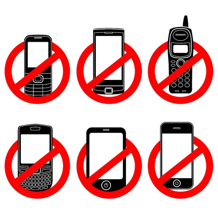 restricted: No phone vector sign set
