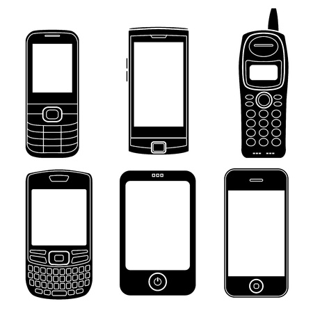 old cell phone: Mobile phones silhouettes set