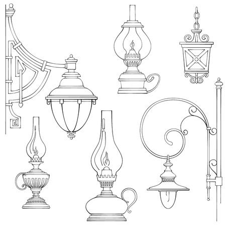 gas lamp: Vintage gas lamps kerosene lamps silhouette Stock Photo