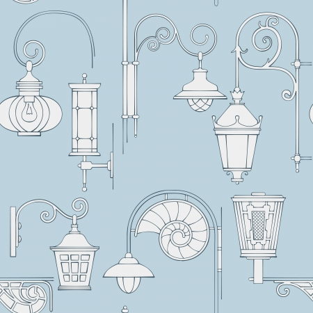 Street lantern seamless pattern photo