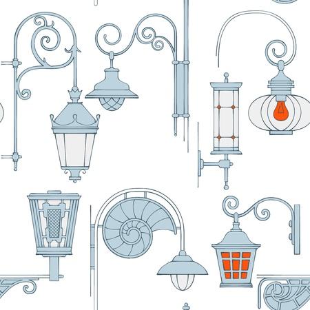 smithery: Street lantern seamless pattern