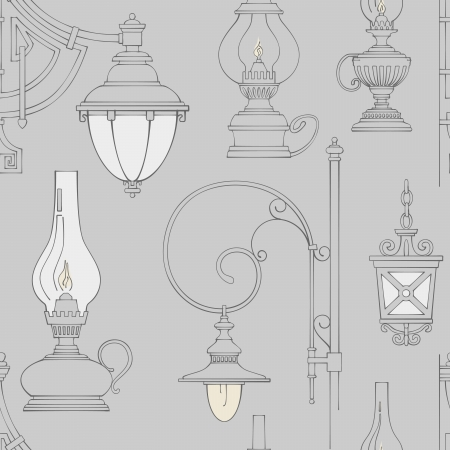 Vector vintage lamp seamless pattern photo