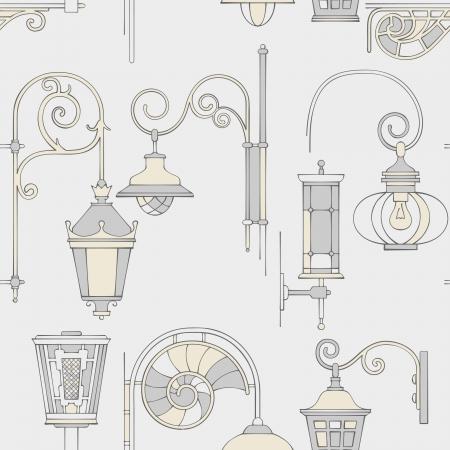 bracket: Street lantern seamless pattern