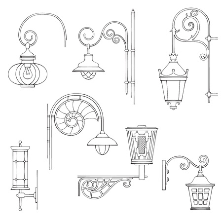 skylight: retro and modern street lanterns Illustration