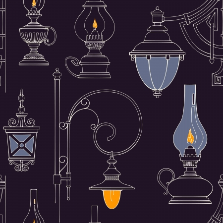 classic house: Vector vintage lamp seamless pattern
