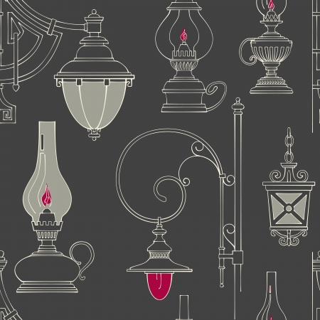Vector vintage lamp seamless pattern Vector