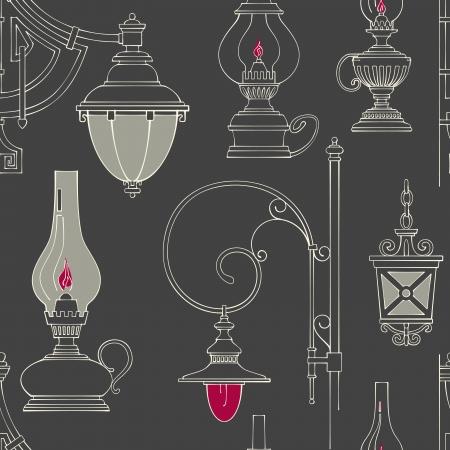 Vector vintage lamp seamless pattern Stock Vector - 17772461