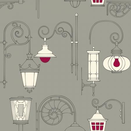 streetlight: Street lantern seamless pattern