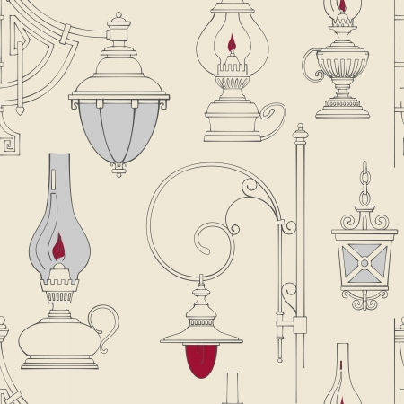 lit candles: Vector vintage lamp seamless pattern