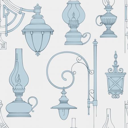 Vector vintage lamp seamless pattern Vector