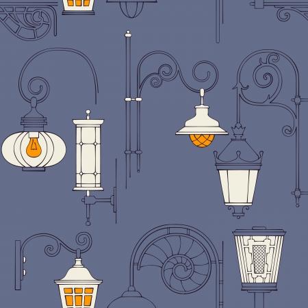 lampposts: Street lantern seamless pattern