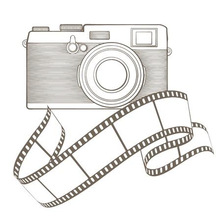 Retro fotocamera met vignet Stock Illustratie