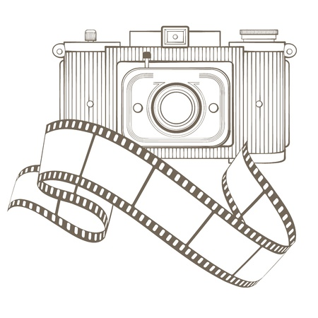 viewfinder vintage: Retro photo camera with vignette