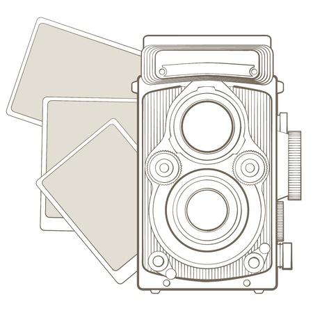 shutter aperture: Vintage photo camera with vignette