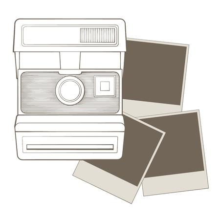 polaroid: Appareil photo vintage avec vignette
