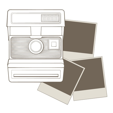 polaroid: Vintage photo camera with vignette
