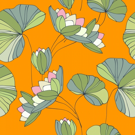 waterlily seamless flower tropical pattern vector illustration Vector