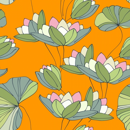 waterlily seamless flower tropical pattern vector illustration