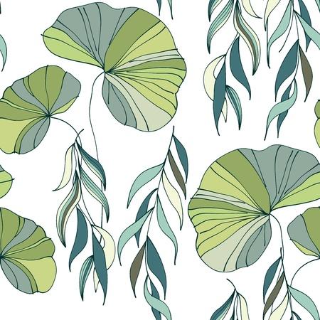 water lilies: Lirios del vector del agua de fondo sin fisuras patr�n Vectores