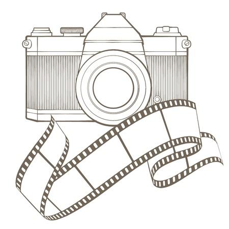 old photograph: Retro photo camera with vignette