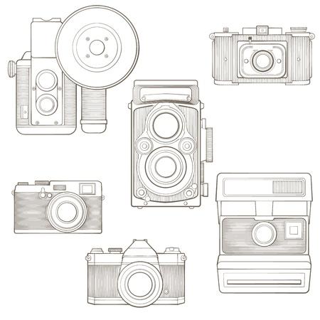 esporre: Fotografiche macchine fotografiche d'epoca insieme Vector illustration