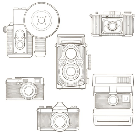 Vintage photo cameras set  Vector illustration