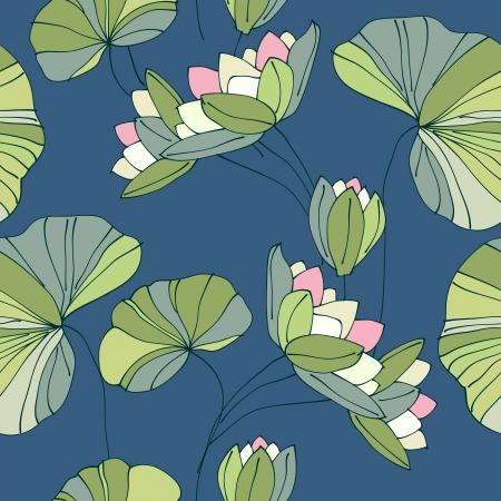 garden pond: waterlily seamless flower tropical pattern